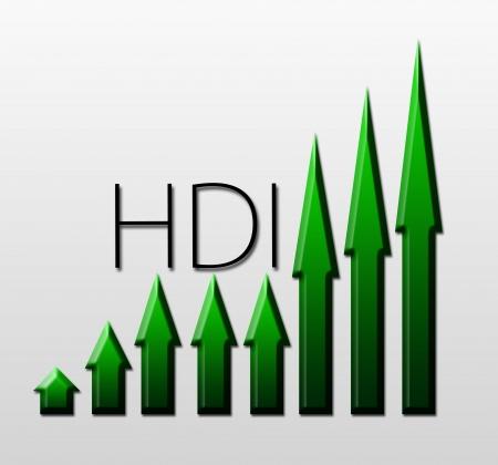 macroeconomic: Chart illustrating Human Development Index growth, macroeconomic indicator concept