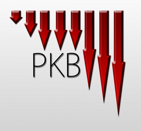 macroeconomic: Chart illustrating PKB drop, macroeconomic indicator concept Stock Photo