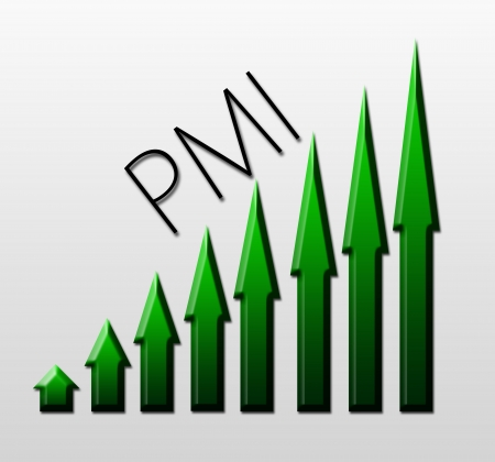 macroeconomic: Chart illustrating Purchasing Managers Index growth, macroeconomic indicator concept Stock Photo