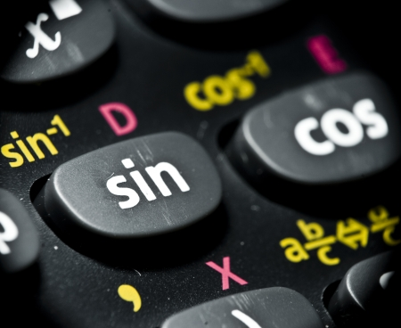 Macro of calculator buttons, mathematical concept Stock Photo