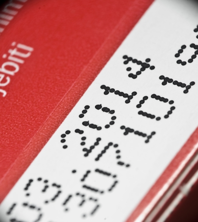 Expiry date printed on product box Stock Photo