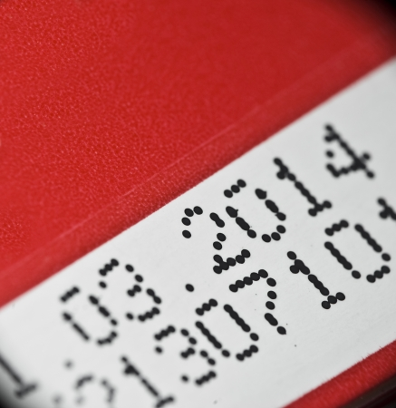 product box: Data di scadenza stampata sulla confezione del prodotto Archivio Fotografico