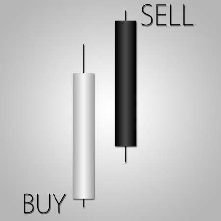 Japanese candles diagram in financial and stock markets analysis photo
