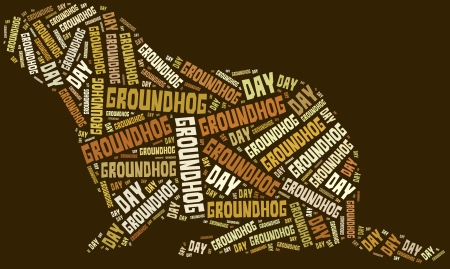Tag or word cloud Groundhog Day related in shape of groundhog