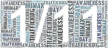 Tag or word cloud human trafficking awareness day related in shape of date photo