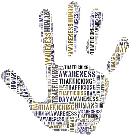 symbol victim: Tag or word cloud human trafficking awareness day related in shape of hand or palm Stock Photo