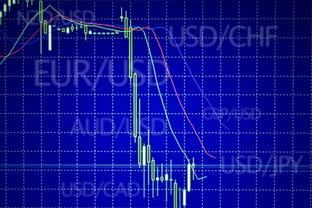 Forex stock market candle graph analysis on the screen photo