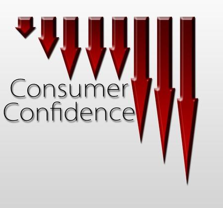 macroeconomic: Chart illustrating Consumer Confidence drop , macroeconomic indicator concept Stock Photo