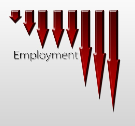 unemployment rate: Chart illustrating employment drop, macroeconomic indicator concept