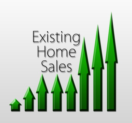 macroeconomic: Chart illustrating existing home sales growth, macroeconomic indicator concept Stock Photo
