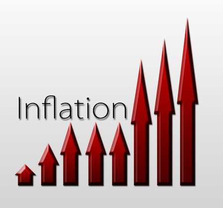 macroeconomic: Chart illustrating inflation growth, macroeconomic indicator concept Stock Photo