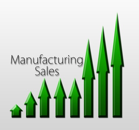 macroeconomic: Chart illustrating manufacturing sales growth, macroeconomic indicator concept Stock Photo