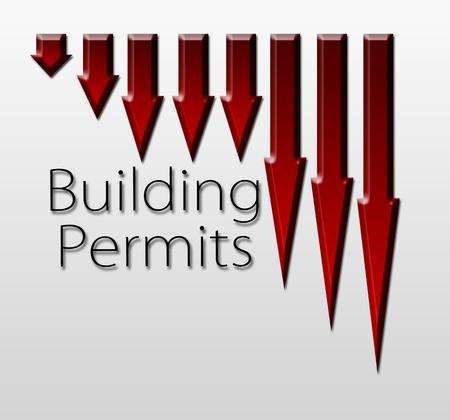 labor market: Chart illustrating building permits drop, macroeconomic indicator concept