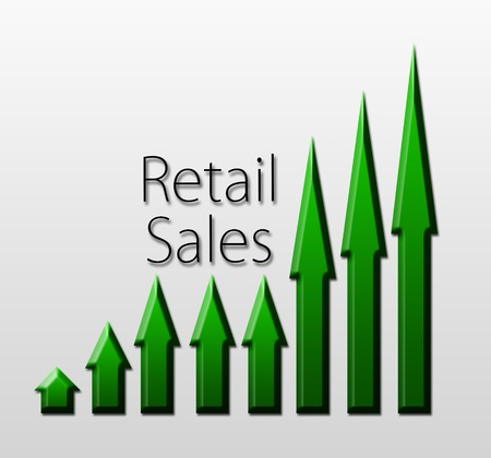 macroeconomic: Chart illustrating retail sales growth, macroeconomic indicator concept Stock Photo