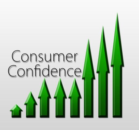 macroeconomic: Chart illustrating Consumer Confidence growth, macroeconomic indicator concept