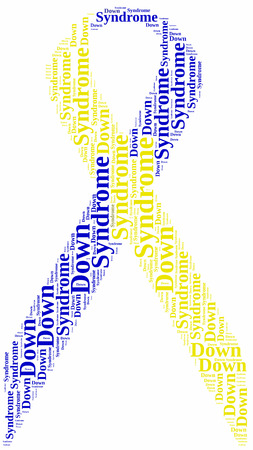 Tag or word cloud World Down Syndrome Day related in shape of blue and yellow ribbon, symbol of Down Syndrome disease photo