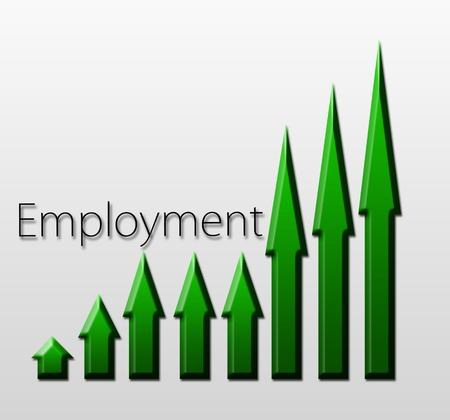 unemployment rate: Chart illustrating employment growth, macroeconomic indicator concept