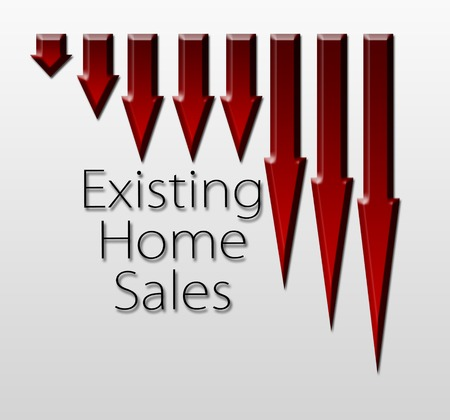 macroeconomic: Chart illustrating existing home sales drop, macroeconomic indicator concept