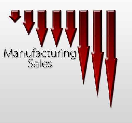 macroeconomic: Chart illustrating manufacturing sales drop, macroeconomic indicator concept