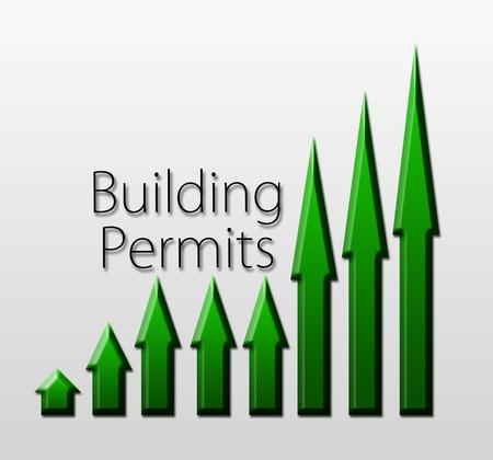 permits: Chart illustrating building permits growth, macroeconomic indicator concept Stock Photo
