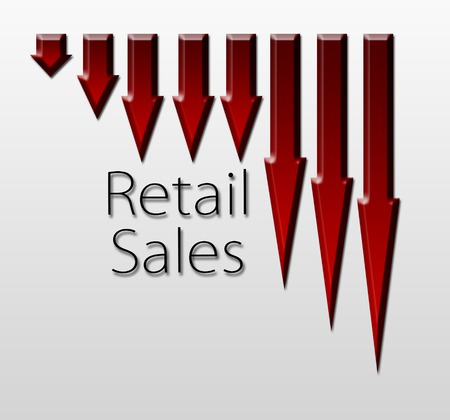 macroeconomic: Chart illustrating retail sales drop, macroeconomic indicator concept