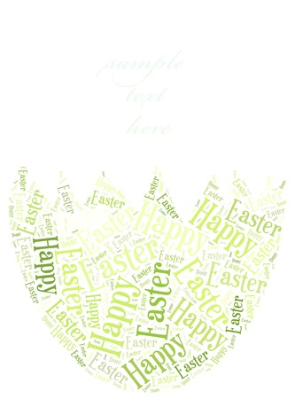 Word cloud Easter related in shape of egg photo