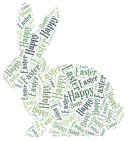 Word cloud Easter related in shape of bunny photo