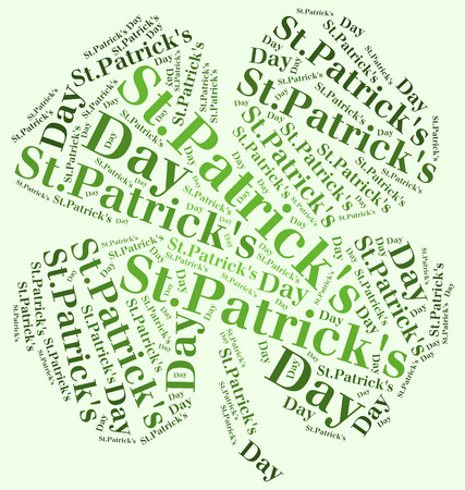 patrick s: Word cloud St  Patrick s Day related in shape of clover Stock Photo