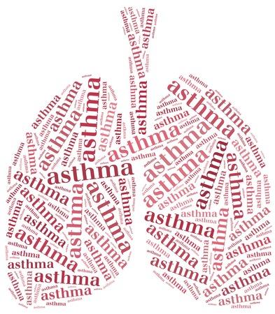 asthme: Nuage de mot asthme concept de soins de sant� de la maladie du syst�me respiratoire