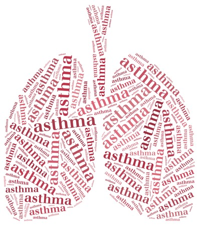 cystic: Word cloud asthma related  Healthcare concept of respiratory system disease  Stock Photo