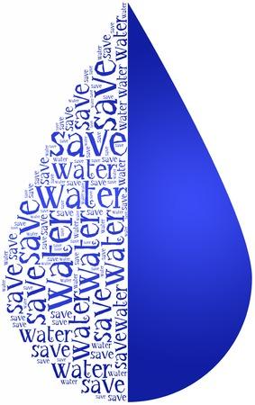 ahorrar agua: Nube de palabras D�a Mundial del Agua o el ahorro de agua relacionados en forma de gota de fiesta celebrado el 22 de marzo