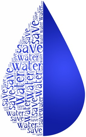 water droplets: Word cloud World Water Day or water saving related in shape of drop  Holiday celebrated on March 22