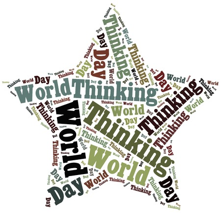 world thinking: Tag or word cloud World Thinking Day related in shape of star