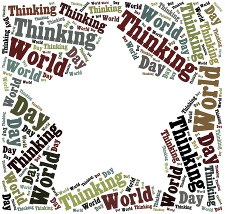world thinking: Tag or word cloud World Thinking Day related in shape of star frame with empty space for photo
