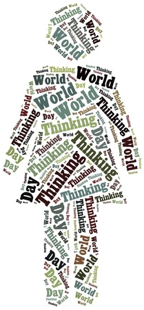 world thinking: Tag or word cloud World Thinking Day related in shape of woman or girl Stock Photo