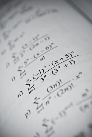 Mathematical education concept of function, integral, derivative formulas photo