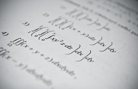 Mathematical education concept of function, integral, derivative formulas Stock Photo