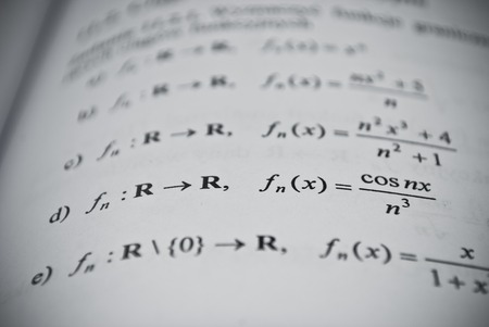 derivative: Mathematical education concept of function, integral, derivative formulas Stock Photo