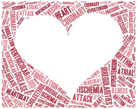 atrial: Word cloud heart disease related in shape of heart organ Stock Photo