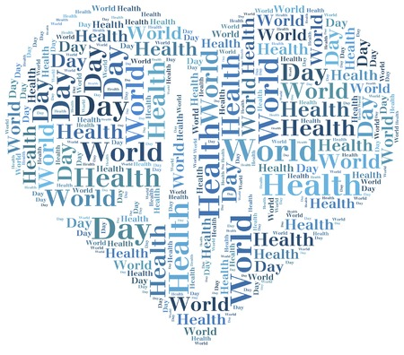 Word cloud World Health Day related in shape of heart with heartbeat photo