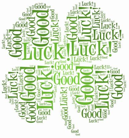 buena suerte: Tag o nube de palabras relacionadas con la suerte en forma de tr�bol de cuatro hojas Foto de archivo