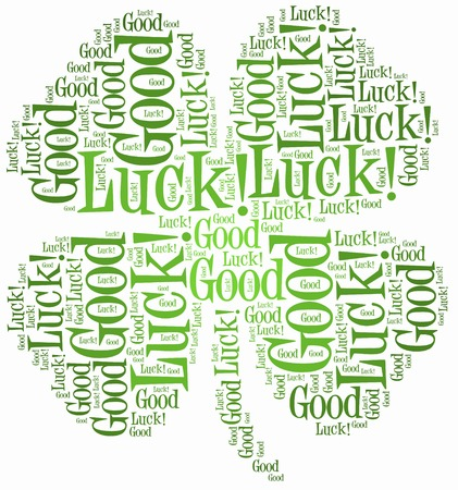 Tag or word cloud luck related in shape of four leaf clover photo