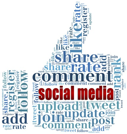 Word cloud social media related in shape of thumb up, like symbol photo