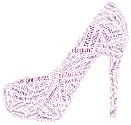 Word cloud of red high heel shoe silhouette photo