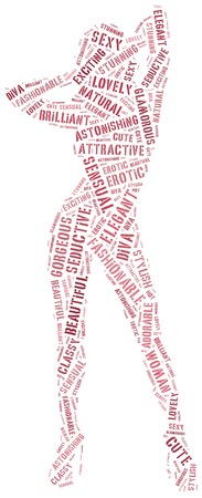 Word cloud of sexy posing woman silhouette photo