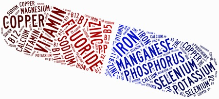 Word cloud diet or nutrition related, including minerals photo