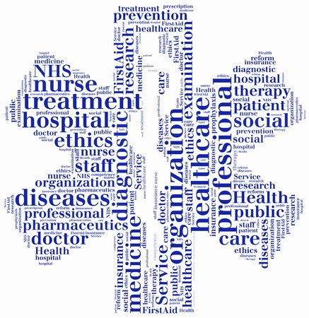 nhs: Word cloud NHS or public health service related