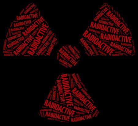 radiactividad: Palabra radiactividad nube o residuos qu�micos relacionados Foto de archivo