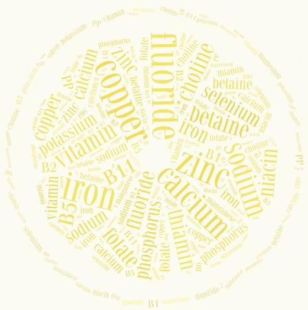 nutrientes: Nube de palabras relacionadas con los nutrientes incluidos en las frutas y verduras de alimentaci�n saludable o el concepto de dieta Foto de archivo