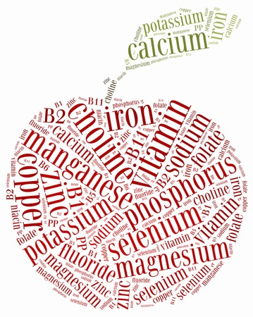 nutrients: Word cloud related to nutrients included in fruits and vegetables  Healthy eating or diet concept